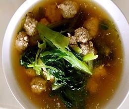 小白菜油菜猪肉丸子汤的做法