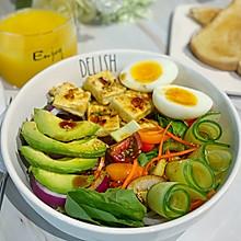 #十分钟开学元气早餐#减脂豆腐牛油果沙拉
