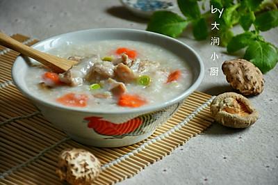 快手鸡丝香菇粥#急速早餐#