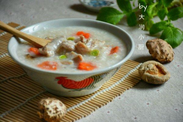 快手鸡丝香菇粥#急速早餐#的做法