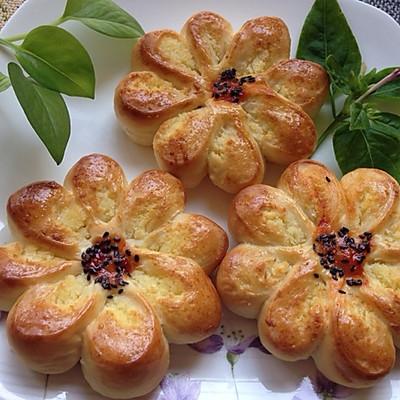 【65度汤种椰蓉花形面包】春天应景的松软面包