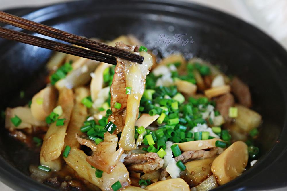 鸡肉肠五香花腩茄子煲