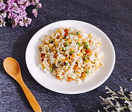#花10分钟,做一道菜!#  五彩蛋炒饭的做法