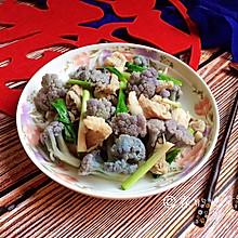 家常小炒  紫花菜炒五花肉