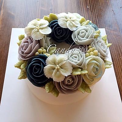 韩式奶油霜裱花蛋糕