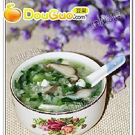 香菇蛋白小白菜粥----粽子副产品