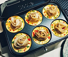 多功能锅--六连盘玫瑰花抱蛋煎饺的做法