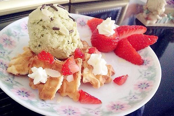 抹茶华夫冰淇淋的做法