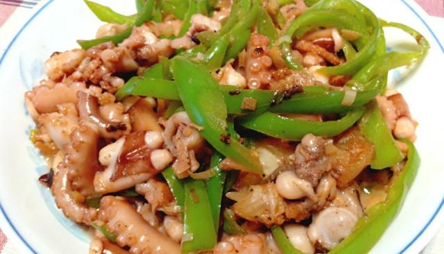 青椒炒大蛸的做法