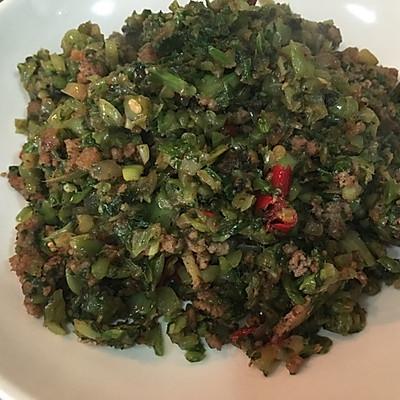 油渣子炒雪里红(芥菜)