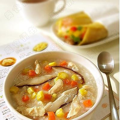 香菇鸡肉粥+烤牛肉卷饼
