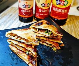 #橄榄中国味 感恩添美味#肉末南瓜芽菜煎饼的做法