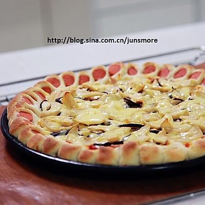 蘑菇火腿心花边比萨