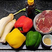 营养丰富又好吃的杏鲍菇彩椒牛肉粒,不用明火也可以做的做法图解1