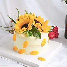 6寸向日葵装饰鲜花蛋糕