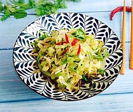 #爽口凉菜,开胃一夏!#野生淡干虾皮拌卷心菜的做法