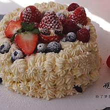 #一道菜表白豆果美食#水果奶油蛋糕(6寸戚风蛋糕胚)