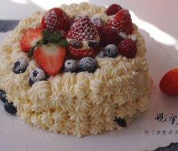 #一道菜表白豆果美食#水果奶油蛋糕(6寸戚风蛋糕胚)的做法