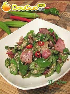 咸肉片炒秋葵的做法