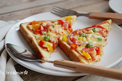 吐司批薩-5分鐘搞定超簡易的營養早餐