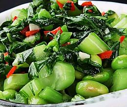 青豆炒雪菜,有延缓衰老,起到消炎抗菌功效的做法