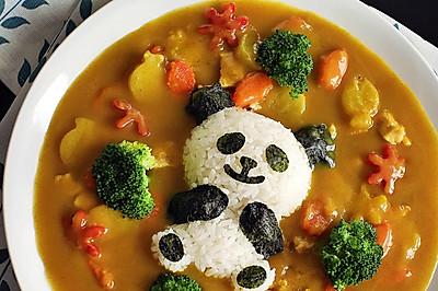 卡通鲜蔬鸡肉咖喱饭