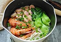 鱼肠鲜虾海鲜面的做法