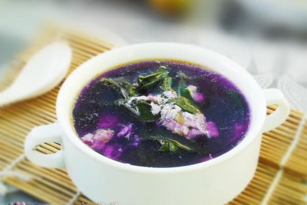 紫背菜咸蛋肉片汤的做法