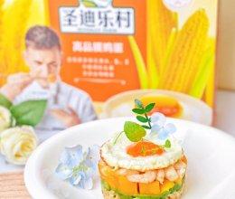 #2021创意料理#溏心蛋鲜果沙拉米饭挞的做法