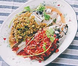 双椒拼色版剁椒鱼头的做法