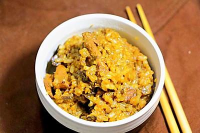 茄子饭 宝宝营养辅食,大米+糙米+小米+猪肉