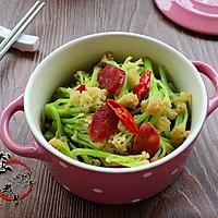 广式腊肠炒花菜#味极鲜味汁#的做法图解13
