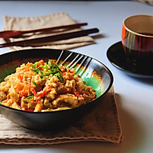 油豆腐拌炒豆渣