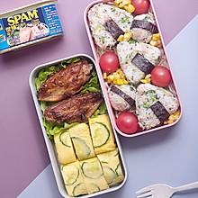 复工系列便当二,午餐肉西蓝花饭团+黄瓜厚蛋烧+香煎鸡翅