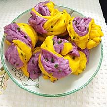 双色秀 南瓜紫薯花卷