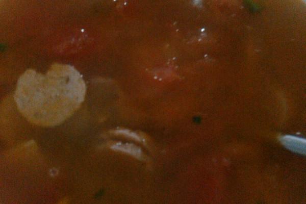 番茄肉片火腿汤。重庆的做法