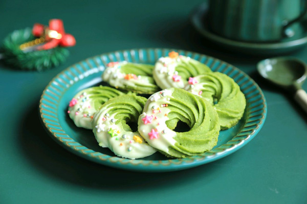 圣诞花环~抹茶曲奇饼干