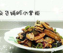 豆干青椒炒腊肉的做法