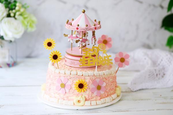 彩色旋转木马生日蛋糕的做法