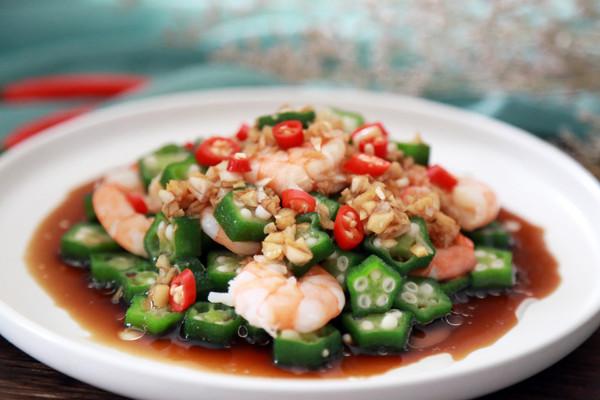秋葵拌虾仁的做法
