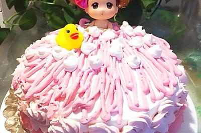 迷糊娃娃洗澡生日蛋糕--给自己做的生日蛋糕#九阳烘焙剧场#