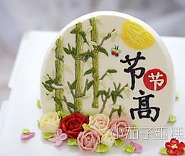 斜坡蛋糕(奶油霜手绘竹子)的做法