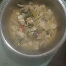 大葱烧蘑菇豆腐