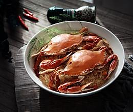梭子蟹蒸糯米饭的做法
