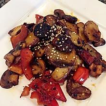 干锅蘑菇腊肠土豆片