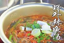 在野外做辣鱼汤喝别有一番滋味呀!的做法
