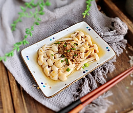 #快手又营养,我家的冬日必备菜品#肉末蒸白玉菇的做法