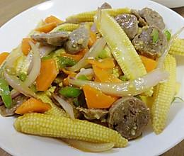 牛筋丸炒小玉米笋的做法