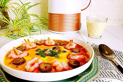 豆浆海参虾仁炖蛋