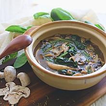 纯素蘑菇菠菜汤#春天不减肥,夏天肉堆堆#
